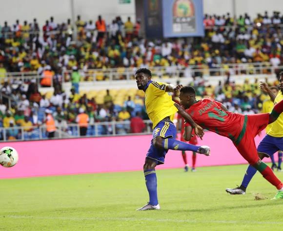 Juary Soares of Guinea Bissau heads goal past Bruno Ecuele Manga of Gabon to score during the 2017 Africa Cup of Nations Finals football match between Gabon and Guinea Bissau at the Libreville Stadium in Gabon on 14 January 2017 ©Gavin Barker/BackpagePix