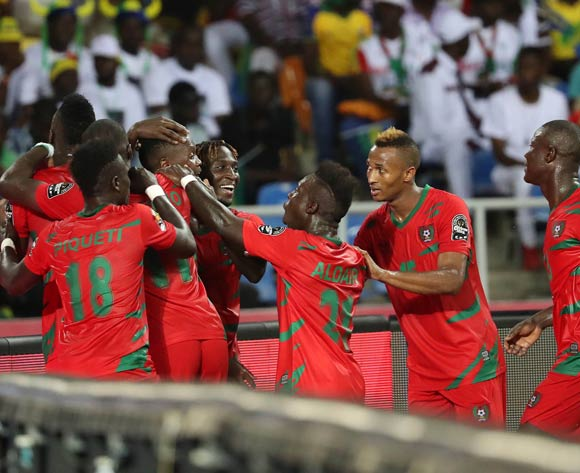 Guinea Bissau players celebrate with goalscorer Juary Soares of Guinea Bissau  during the 2017 Africa Cup of Nations Finals football match between Gabon and Guinea Bissau at the Libreville Stadium in Gabon on 14 January 2017 ©Gavin Barker/BackpagePix