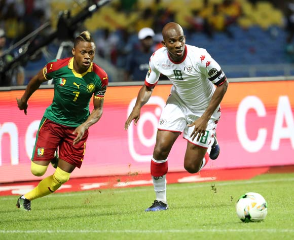 Charles Kabore of Burkina Faso (r) and Clinton Njie of Cameroon during the 2017 Africa Cup of Nations Finals football match between Burkina Faso and Cameroon at the Libreville Stadium in Gabon on 14 January 2017 ©Gavin Barker/BackpagePix