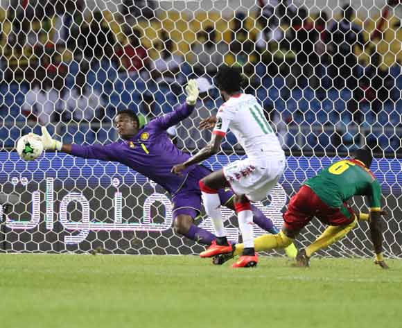 Jules Goda of Cameroon shot from Jonathan Pitroipa of Burkina Faso during the 2017 Africa Cup of Nations Finals football match between Burkina Faso and Cameroon at the Libreville Stadium in Gabon on 14 January 2017 ©Gavin Barker/BackpagePix