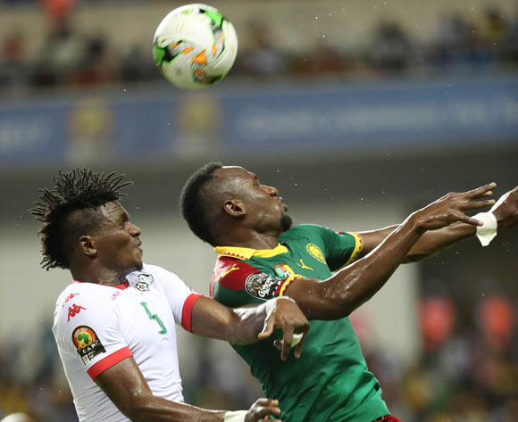 Jacques Zoua of Cameroon (r) wins header against  Patrick Malo of Burkina Faso during the 2017 Africa Cup of Nations Finals football match between Burkina Faso and Cameroon at the Libreville Stadium in Gabon on 14 January 2017 ©Gavin Barker/BackpagePix