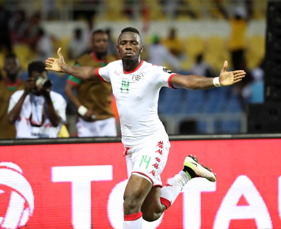 Issoufou Dayo of Burkina Faso celebrates goal during the 2017 Africa Cup of Nations Finals football match between Burkina Faso and Cameroon at the Libreville Stadium in Gabon on 14 January 2017 ©Gavin Barker/BackpagePix