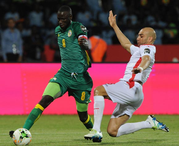 Amen Andennour of Tunisia tackles Cheilhou Kouyate of Senegal during the Afcon Group B match between Tunisia and Senegal on the 15 January 2017 at Franceville Stadium, Gabon Pic Sydney Mahlangu/ BackpagePix
