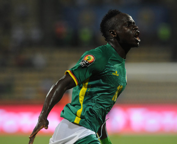 Sadio Mane of Senegal celebrates a goal  Franceville Stadium, Gabon Pic Sydney Mahlangu/ BackpagePix