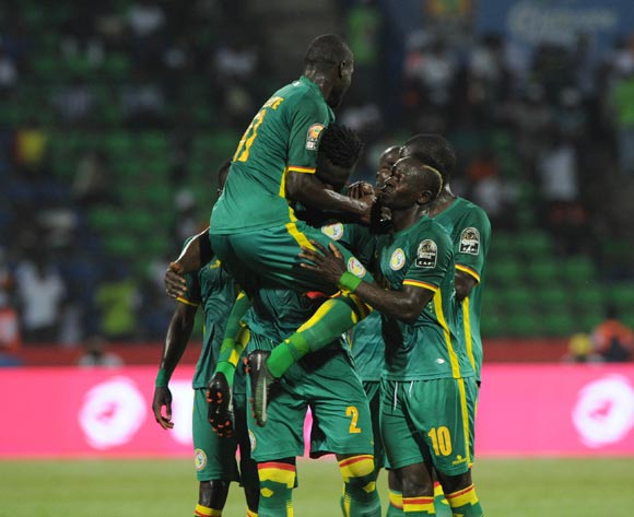 Serigne Mbodji of Senegal celebrates a goal with teammates during the Afcon Group B match between Tunisia and Senegal on the 15 January 2017 at Franceville Stadium, Gabon Pic Sydney Mahlangu/ BackpagePix