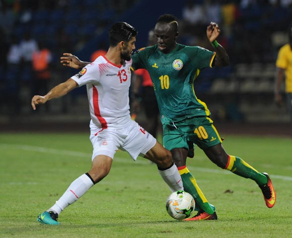 Ferjani Sassi of Tunisia challenges Sadio Mane of Senegal during the Afcon Group B match between Tunisia and Senegal on the 15 January 2017 at Franceville Stadium, Gabon Pic Sydney Mahlangu/ BackpagePix