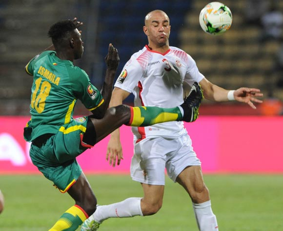 Amen Andennour of Tunisia is challenged by Ismaila Sarr of Senegal  during the Afcon Group B match between Tunisia and Senegal on the 15 January 2017 at Franceville Stadium, Gabon Pic Sydney Mahlangu/ BackpagePix