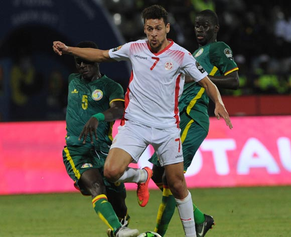 Youssef Msakni of Tunisia is challenged by Idrissa Gueye of Senegal  during the Afcon Group B match between Tunisia and Senegal on the 15 January 2017 at Franceville Stadium, Gabon Pic Sydney Mahlangu/ BackpagePix