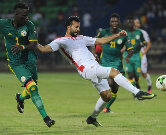 Taha Yassine Khenissi of Tunisia challenged by Serigne Mbodji of Senegal  during the Afcon Group B match between Tunisia and Senegal on the 15 January 2017 at Franceville Stadium, Gabon Pic Sydney Mahlangu/ BackpagePix