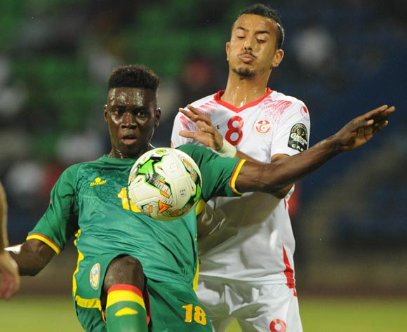Hamza Lahmar of Tunisia challenges Ismaila Sarr of Senegal during the Afcon Group B match between Tunisia and Senegal on the 15 January 2017 at Franceville Stadium, Gabon Pic Sydney Mahlangu/ BackpagePix
