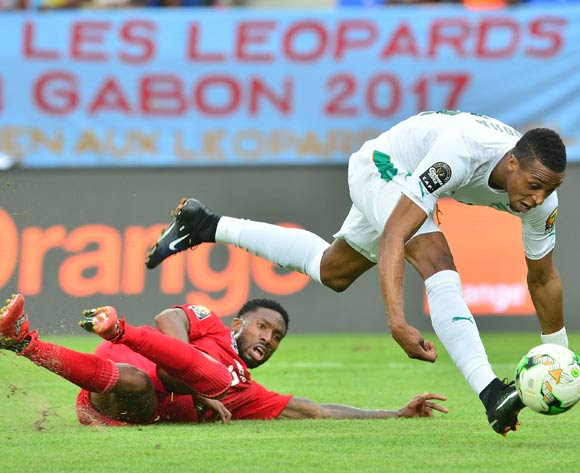 Jonathan Kodji of Ivory Coast challenged by Serge Gakpe of Togo during the 2017 Africa Cup of Nations Finals match between Ivory Coast and Togo at the Oyem Stadium in Gabon on 16 January 2017 ©Samuel Shivambu/BackpagePix