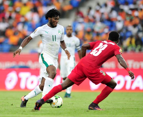 Franck Kessié of Ivory Coast challenged by Sedat Ouro-akoriko of Togo during the 2017 Africa Cup of Nations Finals match between Ivory Coast and Togo at the Oyem Stadium in Gabon on 16 January 2017 ©Samuel Shivambu/BackpagePix