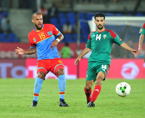 Remi Mulumba of DR Congo challenged by Mbark Boussoufa of Morocco during the 2017 Africa Cup of Nations Finals match between DR Congo and Morocco at the Oyem Stadium in Gabon on 16 January 2017 ©Samuel Shivambu/BackpagePix