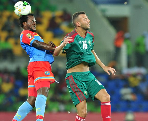Omar El Badouri of Morocco challenged by Issama Djos of DR Congo during the 2017 Africa Cup of Nations Finals match between DR Congo and Morocco at the Oyem Stadium in Gabon on 16 January 2017 ©Samuel Shivambu/BackpagePix