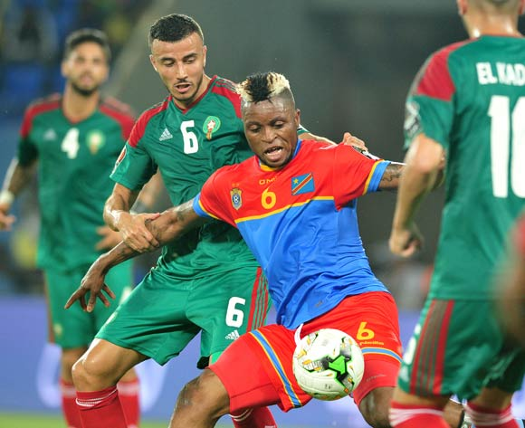 Junior Kalonji of DR Congo challenged by Ghana Saiss of Morocco during the 2017 Africa Cup of Nations Finals match between DR Congo and Morocco at the Oyem Stadium in Gabon on 16 January 2017 ©Samuel Shivambu/BackpagePix
