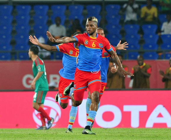 Junior Kalounji of DR Congo celebrates his goal during the 2017 Africa Cup of Nations Finals match between DR Congo and Morocco at the Oyem Stadium in Gabon on 16 January 2017 ©Samuel Shivambu/BackpagePix