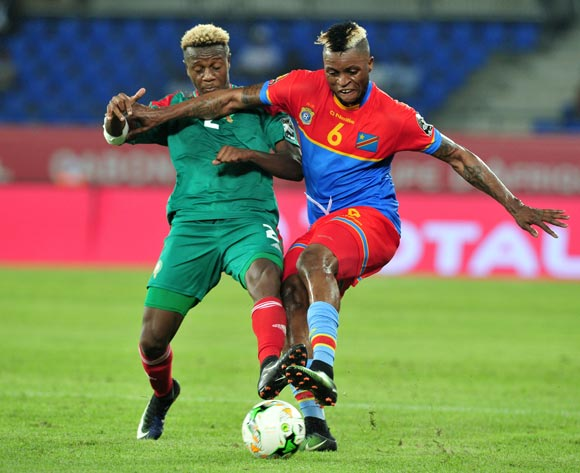 Junior Kalounji of DR Congo challenged by Hamza Mendyl of Morocco during the 2017 Africa Cup of Nations Finals match between DR Congo and Morocco at the Oyem Stadium in Gabon on 16 January 2017 ©Samuel Shivambu/BackpagePix