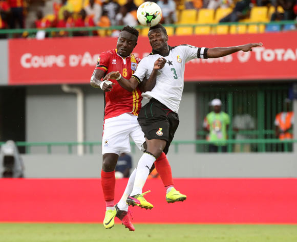 Asamoah Gyan of Ghana battles for the ball with Tonny Mawejje of Uganda during the 2017 Africa Cup of Nations Finals football match between Ghana and Uganda at the Port Gentil Stadium in Gabon on 17 January 2017 ©Chris Ricco/BackpagePix