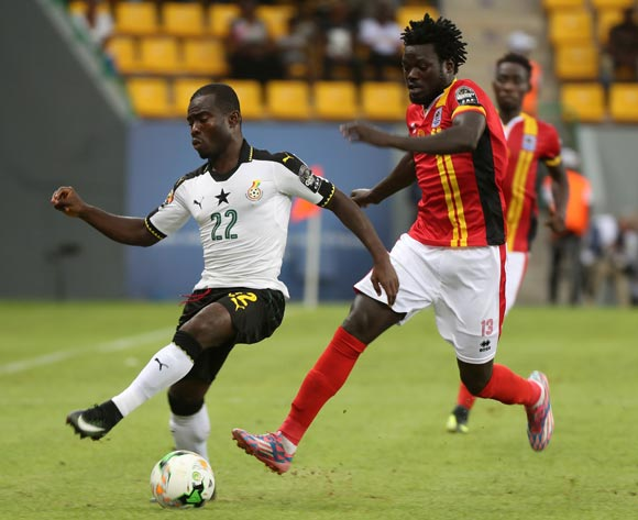 Frank Acheampong of Ghana evades challenge from Moses Oloya of Uganda during the 2017 Africa Cup of Nations Finals football match between Ghana and Uganda at the Port Gentil Stadium in Gabon on 17 January 2017 ©Chris Ricco/BackpagePix