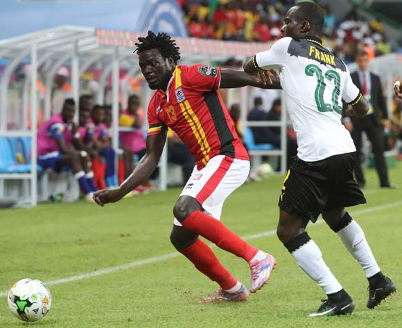 Moses Oloya of Uganda evades challenge from Frank Acheampong of Ghana during the 2017 Africa Cup of Nations Finals football match between Ghana and Uganda at the Port Gentil Stadium in Gabon on 17 January 2017 ©Chris Ricco/BackpagePix