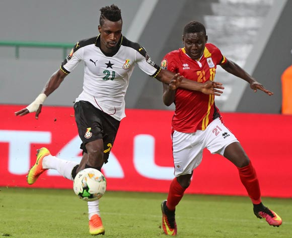 John Boye of Ghana battles for the ball with Muhammad Shaban of Uganda during the 2017 Africa Cup of Nations Finals football match between Ghana and Uganda at the Port Gentil Stadium in Gabon on 17 January 2017 ©Chris Ricco/BackpagePix