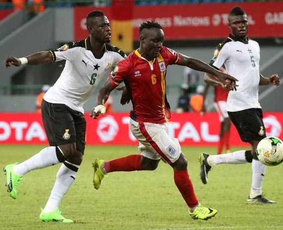 Tonny Mawejje of Uganda evades challenge from Afriyie Acquah of Ghana during the 2017 Africa Cup of Nations Finals football match between Ghana and Uganda at the Port Gentil Stadium in Gabon on 17 January 2017 ©Chris Ricco/BackpagePix