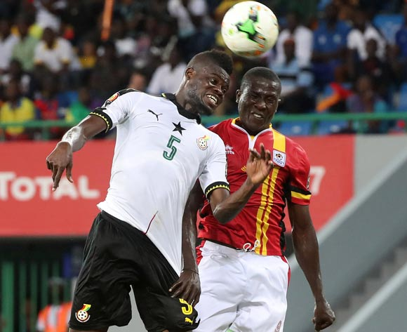 Thomas Partey of Ghana battles for the ball with Geofrey Serunkuma of Uganda during the 2017 Africa Cup of Nations Finals football match between Ghana and Uganda at the Port Gentil Stadium in Gabon on 17 January 2017 ©Chris Ricco/BackpagePix