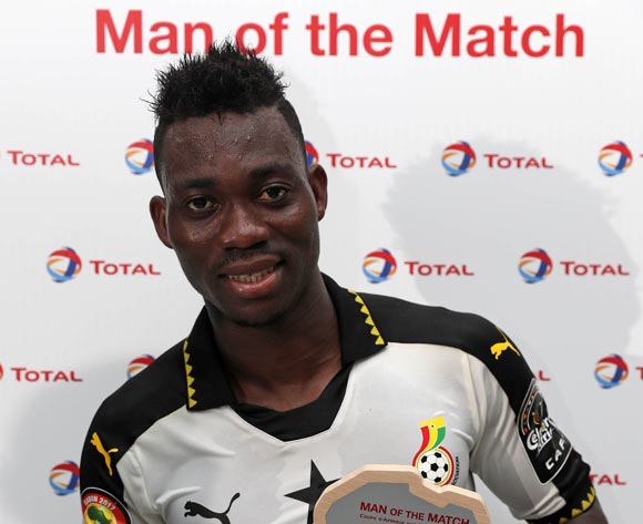 Christian Atsu of Ghana wins Total Man of the Match during the 2017 Africa Cup of Nations Finals football match between Ghana and Uganda at the Port Gentil Stadium in Gabon on 17 January 2017 ©Chris Ricco/BackpagePix