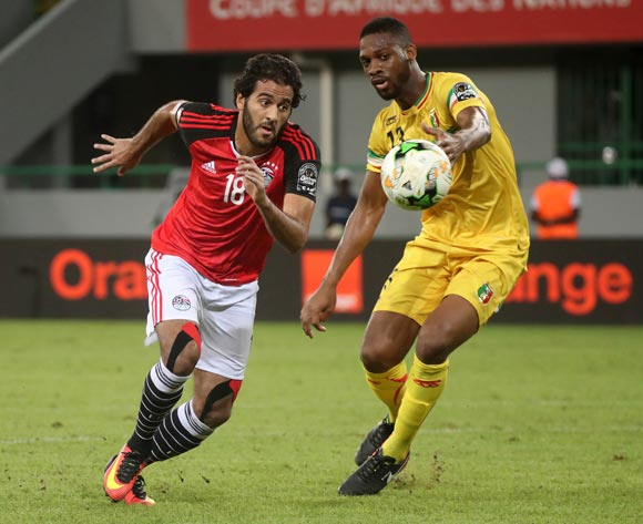 Marwan Fahmy of Egypt battles for the ball with Molla Wague of Mali during the 2017 Africa Cup of Nations Finals football match between Mali and Egypt at the Port Gentil Stadium in Gabon on 17 January 2017 ©Chris Ricco/BackpagePix