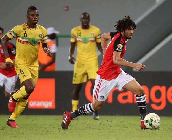Mohamed Elneny of Egypt gets away from Lassana Coulibaly of Mali during the 2017 Africa Cup of Nations Finals football match between Mali and Egypt at the Port Gentil Stadium in Gabon on 17 January 2017 ©Chris Ricco/BackpagePix
