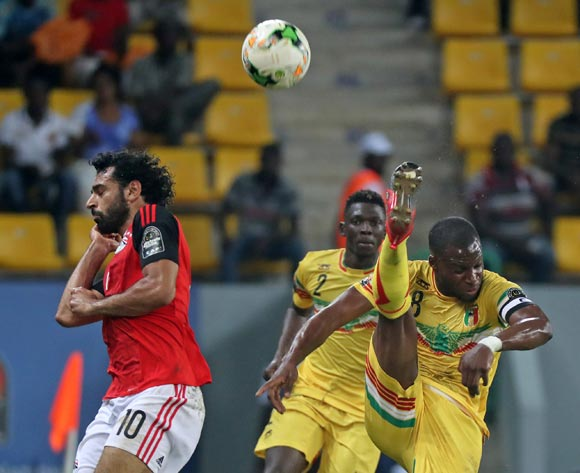 Yacouba Sylla of Mali clears ball from Mohamed Salah of Egypt during the 2017 Africa Cup of Nations Finals football match between Mali and Egypt at the Port Gentil Stadium in Gabon on 17 January 2017 ©Chris Ricco/BackpagePix