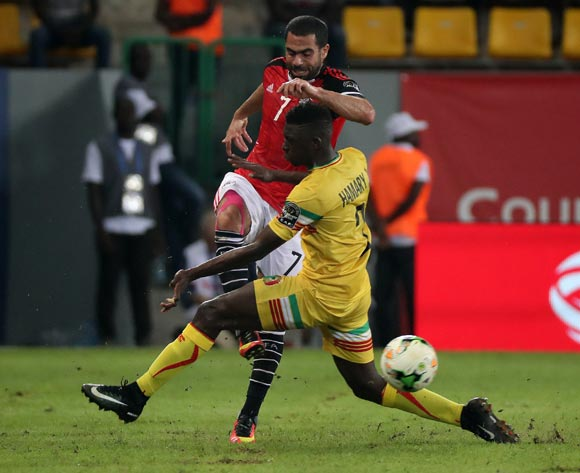Ahmed Ibrahim of Egypt battles for the ball with Hamari Traore of Mali during the 2017 Africa Cup of Nations Finals football match between Mali and Egypt at the Port Gentil Stadium in Gabon on 17 January 2017 ©Chris Ricco/BackpagePix