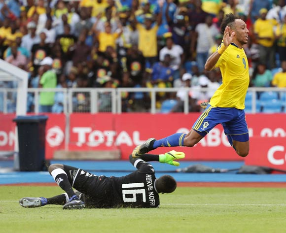 Pierre Aubameyang of Gabon fouled by Herve Koffi of Burkina Faso resulting in penalty during the 2017 African Cup of Nations Finals Afcon football match between Gabon and Burkina Faso at the Libreville Stadium in Gabon on 18 January 2017 ©Gavin Barker/BackpagePix