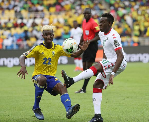 Alain Traore of Burkina Faso (r) challenged by Didier Ibrahim Ndong of Gabon  during the 2017 African Cup of Nations Finals Afcon football match between Gabon and Burkina Faso at the Libreville Stadium in Gabon on 18 January 2017 ©Gavin Barker/BackpagePix