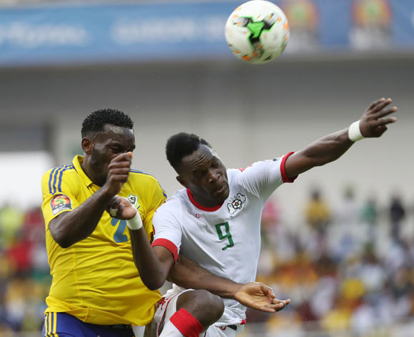 Banou Diawara of Burkina Faso (r) wins header against Aaron Appindangoye of Gabon during the 2017 African Cup of Nations Finals Afcon football match between Gabon and Burkina Faso at the Libreville Stadium in Gabon on 18 January 2017 ©Gavin Barker/BackpagePix