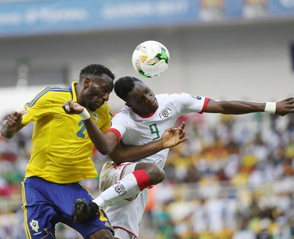 Aaron Appindangoye of Gabon (r) and Banou Diawara of Burkina Faso challenge for the ball during the 2017 African Cup of Nations Finals Afcon football match between Gabon and Burkina Faso at the Libreville Stadium in Gabon on 18 January 2017 ©Gavin Barker/BackpagePix
