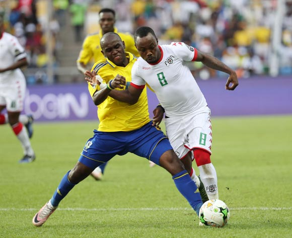 Abdoul Razack Traore of Burkina Faso (r) challenged by Koumba Merlin Tandjigora of Gabon  during the 2017 African Cup of Nations Finals Afcon football match between Gabon and Burkina Faso at the Libreville Stadium in Gabon on 18 January 2017 ©Gavin Barker/BackpagePix