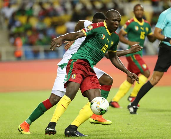 Vincent Aboubakar of Cameroon clears ball from Rudnilson Silva of Guinea Bissau  during the 2017 African Cup of Nations Finals Afcon football match between Cameroon and Guinea Bissau at the Libreville Stadium in Gabon on 18 January 2017 ©Gavin Barker/BackpagePix