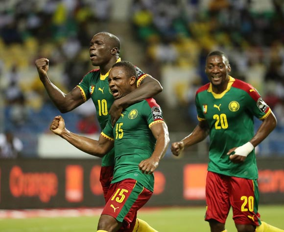 Sebastien Siani of Cameroon celebrates goal with Vincent Aboubakar (behind) during the 2017 African Cup of Nations Finals Afcon football match between Cameroon and Guinea Bissau at the Libreville Stadium in Gabon on 18 January 2017 ©Gavin Barker/BackpagePix