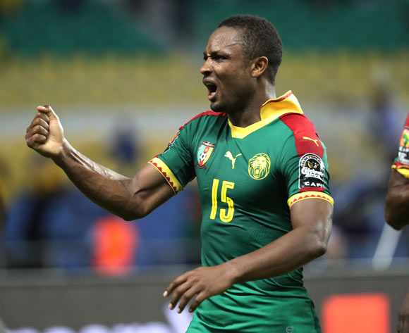 Sebastien Siani of Cameroon celebrates goal during the 2017 African Cup of Nations Finals Afcon football match between Cameroon and Guinea Bissau at the Libreville Stadium in Gabon on 18 January 2017 ©Gavin Barker/BackpagePix