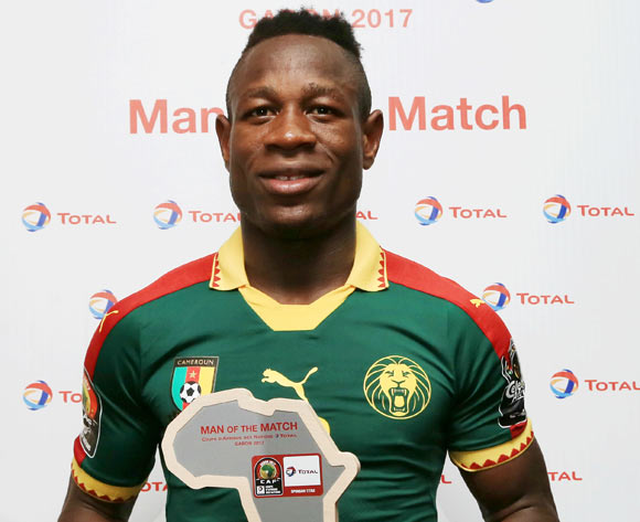 Christian Bassogog of Cameroon wins Total Man of the Match during the 2017 African Cup of Nations Finals Afcon football match between Cameroon and Guinea Bissau at the Libreville Stadium in Gabon on 18 January 2017 ©Gavin Barker/BackpagePix