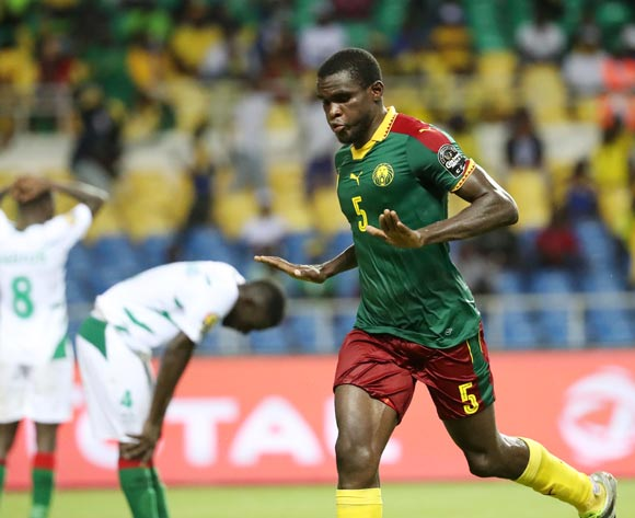 Michael Ngadeu of Cameroon celebrates goal during the 2017 African Cup of Nations Finals Afcon football match between Cameroon and Guinea Bissau at the Libreville Stadium in Gabon on 18 January 2017 ©Gavin Barker/BackpagePix