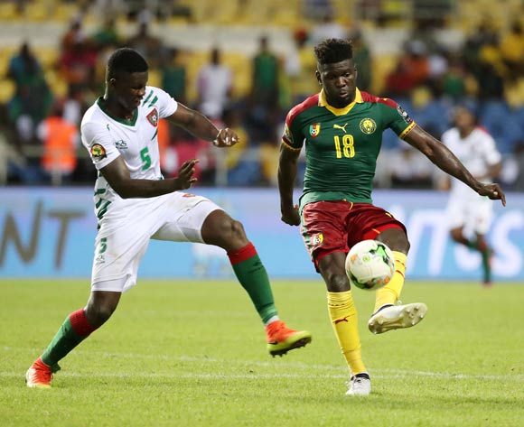Robert Ndip Tambe of Cameroon clears ball from Rudnilson Silva of Guinea Bissau  during the 2017 African Cup of Nations Finals Afcon football match between Cameroon and Guinea Bissau at the Libreville Stadium in Gabon on 18 January 2017 ©Gavin Barker/BackpagePix