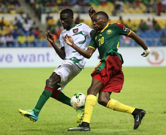 Toko Ekambi of Cameroon challenged by Tomas Dabo of Guinea Bissau  during the 2017 African Cup of Nations Finals Afcon football match between Cameroon and Guinea Bissau at the Libreville Stadium in Gabon on 18 January 2017 ©Gavin Barker/BackpagePix