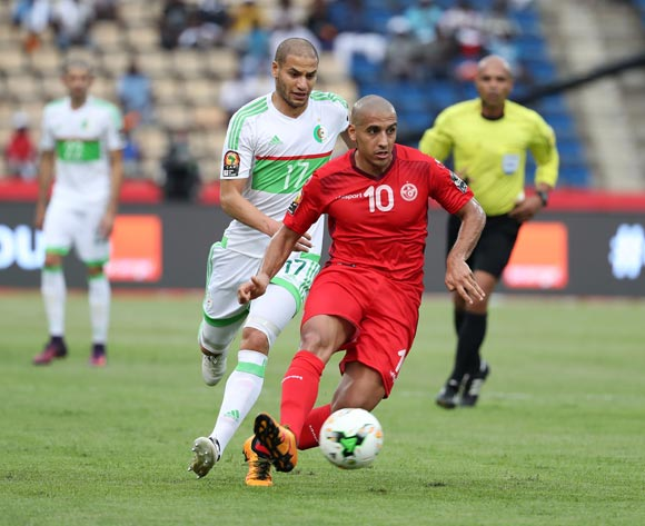 Wahbi Khazri of Tunisia passable away from Adlane Guedioura of Algeria during the 2017 African Cup of Nations Finals Afcon football match between Algeria and Tunisia at the Franceville Stadium in Gabon on 19 January 2017 ©Gavin Barker/BackpagePix