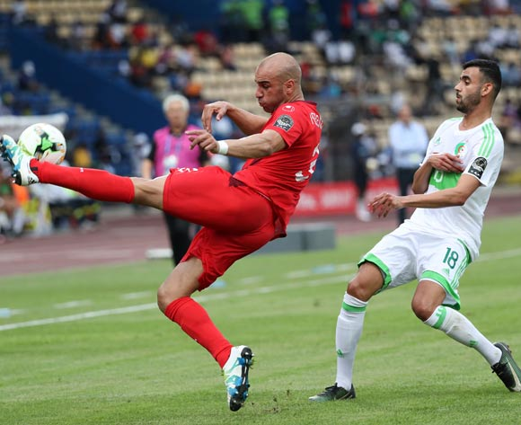 Aymen Abdennour of Tunisia (l) clears ball from Rachid Ghezzal of Algeria during the 2017 African Cup of Nations Finals Afcon football match between Algeria and Tunisia at the Franceville Stadium in Gabon on 19 January 2017 ©Gavin Barker/BackpagePix