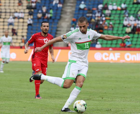 Islam Slimani of Algeria shoots at goal during the 2017 African Cup of Nations Finals Afcon football match between Algeria and Tunisia at the Franceville Stadium in Gabon on 19 January 2017 ©Gavin Barker/BackpagePix