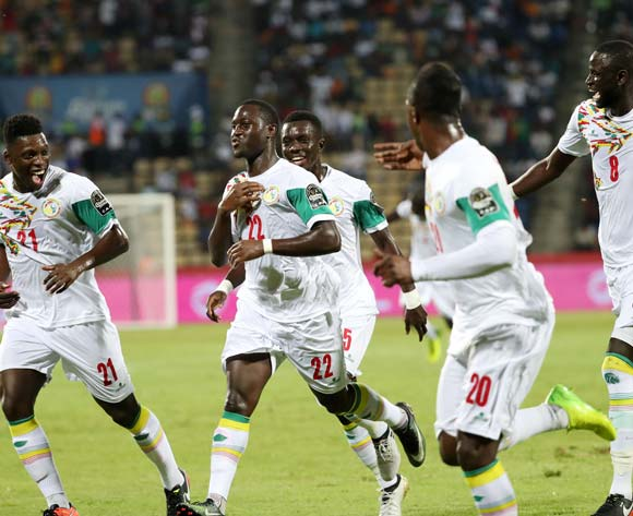 Henri Saivet of Senegal (c) celebrates goal during the 2017 African Cup of Nations Finals Afcon football match between Senegal and  Zimbabwe at the Franceville Stadium in Gabon on 19 January 2017 ©Gavin Barker/BackpagePix