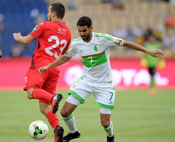 Riyad Mahrez of Algeria is challenged by Naim Sliti of Tunisia during the Afcon Group B match between Algeria and Tunisia  on the 19 January 2017 at Franceville Stadium, Gabon Pic Sydney Mahlangu/ BackpagePix