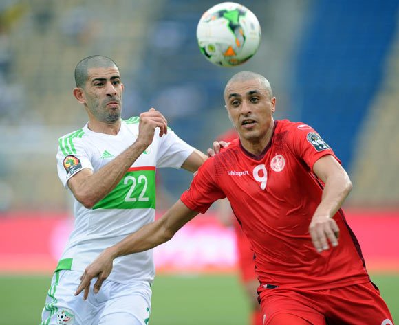 Amir Rami Bensebaini of Algeria challenges Ahmed Akaichi of Tunisia during the Afcon Group B match between Algeria and Tunisia  on the 19 January 2017 at Franceville Stadium, Gabon Pic Sydney Mahlangu/ BackpagePix